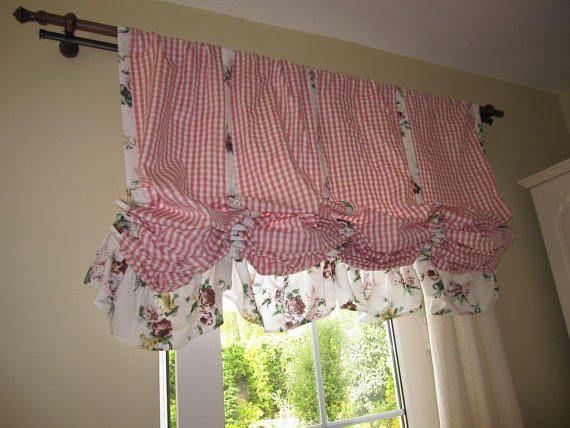 Valance Plaid Floral Ruffle Kitchen Curtain Balloon Valance Shabby