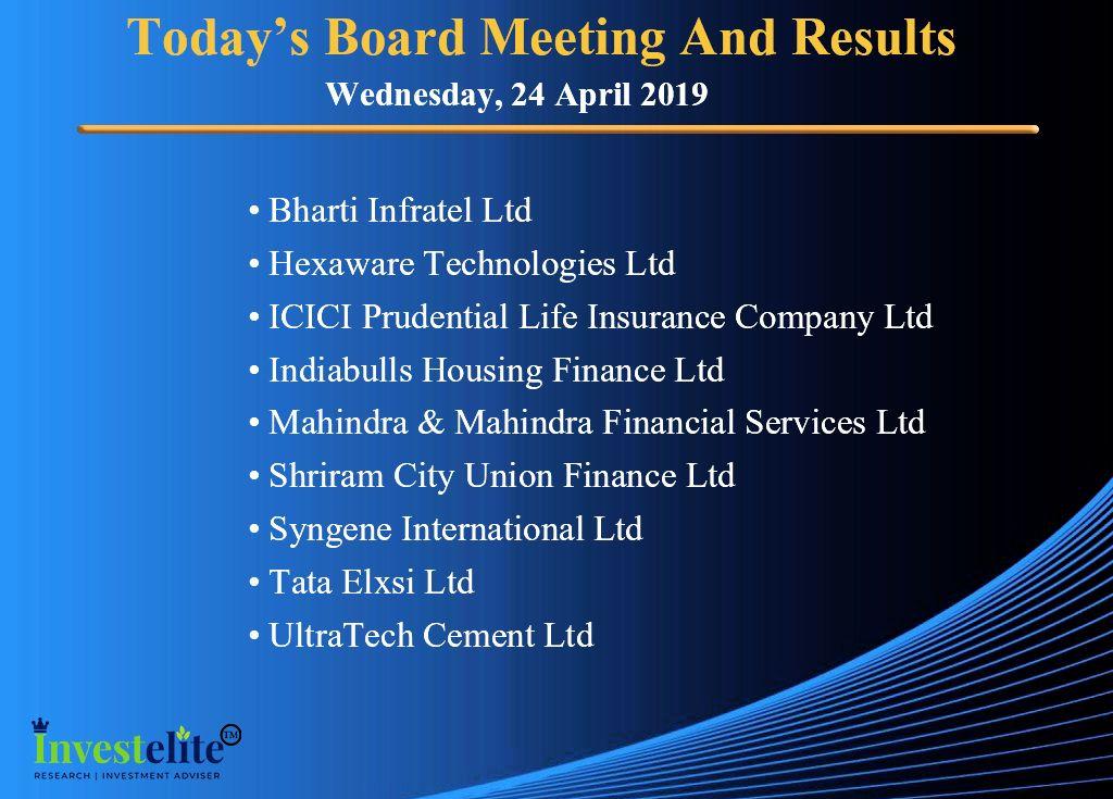 Bhartiinfratel Ultratech Indiabullshousingfinance