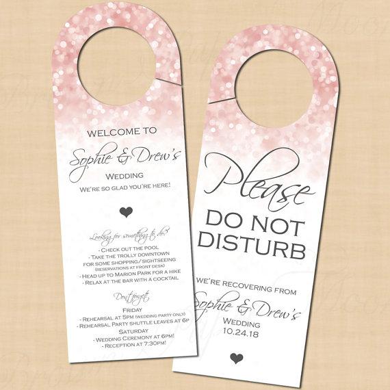 Pink Blush Glitter Text Editable Door Hanger Fits Avery 16150 Products Instant Download Door Hanger Template Wedding Door Hangers Gold Sparkle
