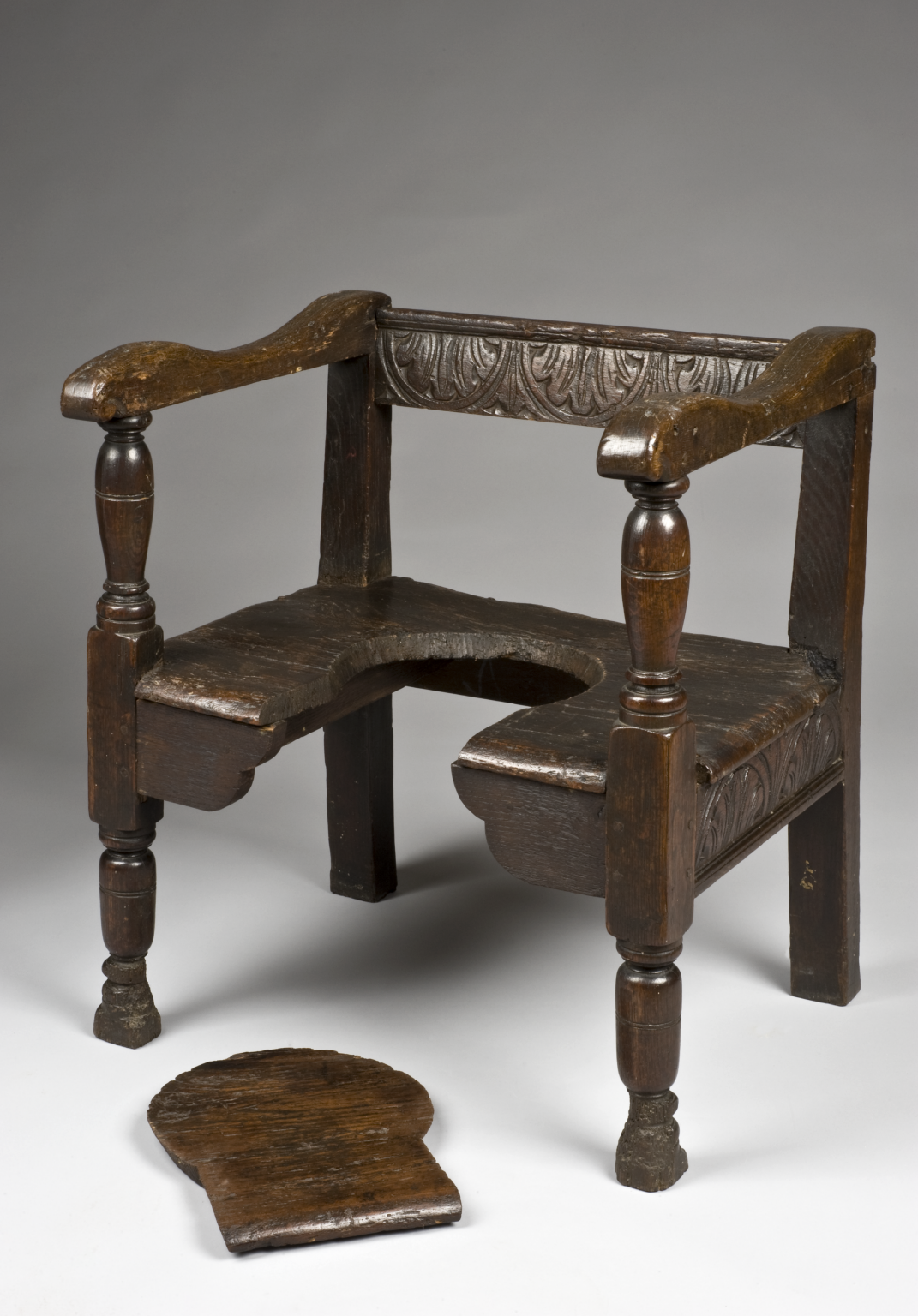 Parturition (birthing) chair, England, 16011700 History