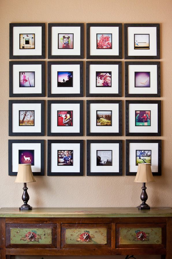 Here S An Awesome Photo Frame Wall Collage Display By Photographer Kevin Hail Print Your Instagram Photo S And Insert Into Square Decor Home Diy Wall Display