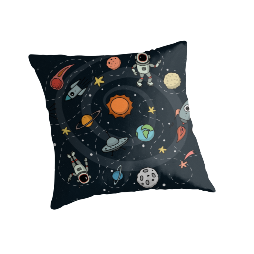 Outer Space Illustration by Gordon White | Throw Pillow Available in 3 Sizes @redbubble  --------------------------- #redbubble #sticker #throwpillow #pillow #homedecor --------------------------- http://www.redbubble.com/people/big-bang-theory/works/22569162-outer-space-planetary-illustration?asc=u&p=throw-pillow&rel=carousel