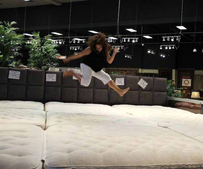 Lori Falcon Had A Blast Jumping On The Mattresses At Gallery Furniture Houston Tx Gallery Furniture Gallery Furniture Furniture Houston Tx