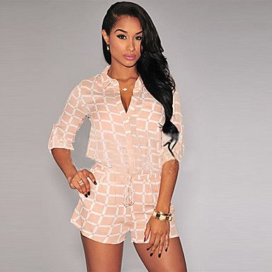 Women's Striped Pink Jumpsuits , Holiday / Beach V Neck ¾ Sleeve 4845076 2016 – $14.99