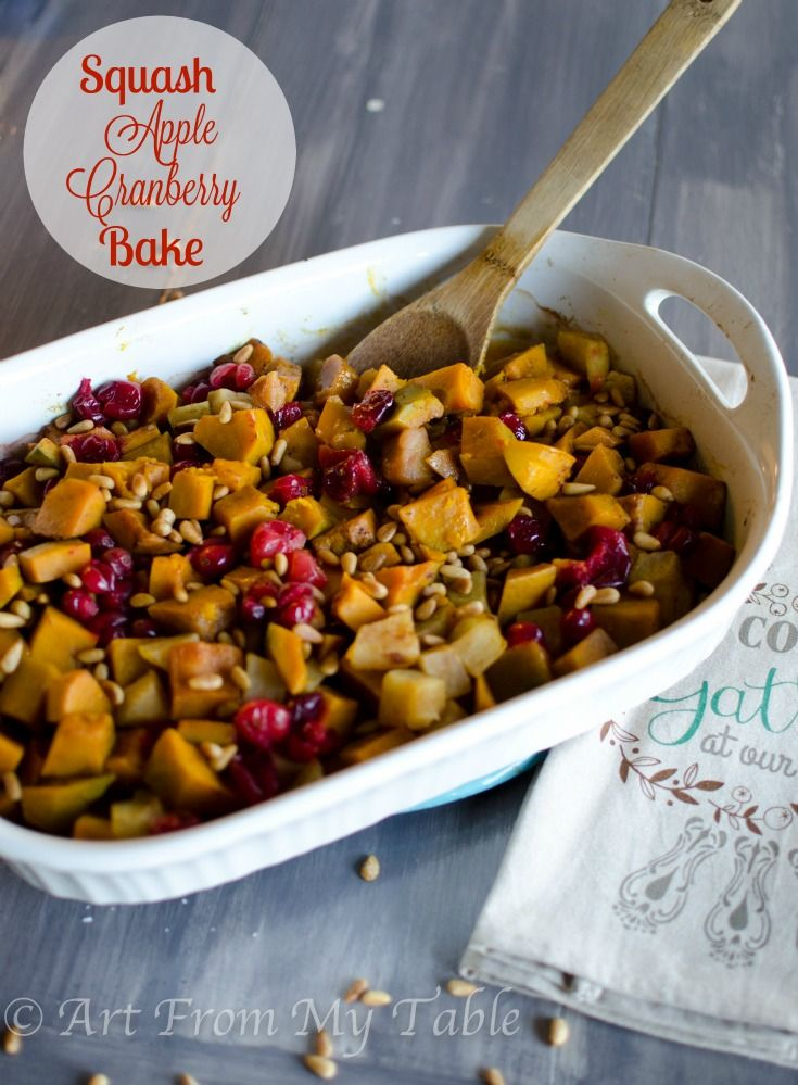 Buttercup Squash Apples And Cranberries Baked With Brown Butter Spices And Topped Off With Toasted Pine Nuts Heal With Images Cranberry Baking Side Dishes Easy Recipes