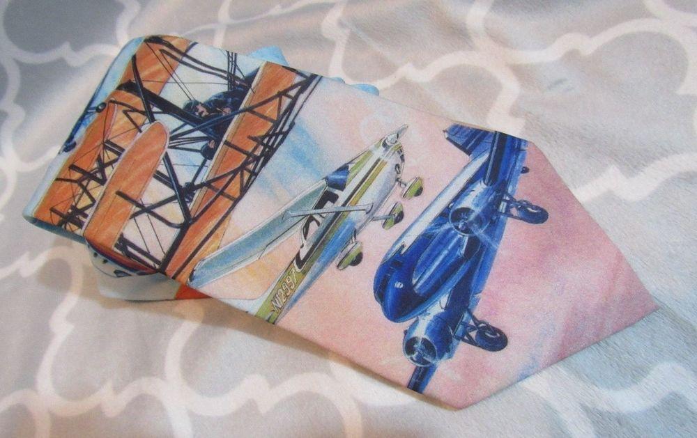 Men's Ralph Marlin Bicentennial of Flight Aviation 1994 Necktie Blue Biplane Tie #RalphMarlin