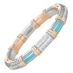 Turquoise Gold Bangle Bracelet
