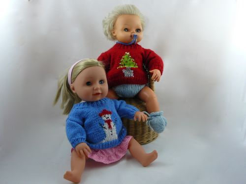 Christmas Tree Jumper For 16 Doll Knitted Tiny Tears Clothes