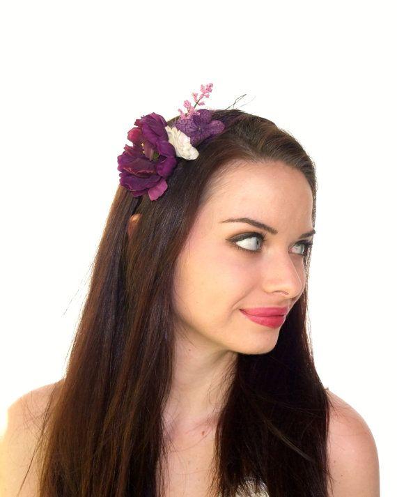 Plum Flower Headband Boho Flower Headband by RuthNoreDesigns, $15.00