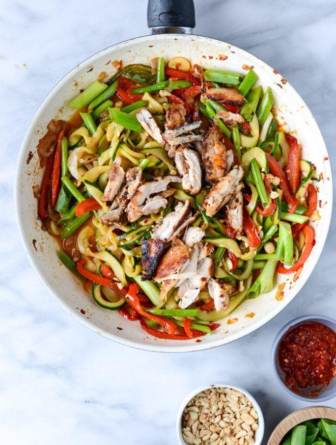 Thai Drunken Zucchini Noodles with Spicy Honey Chicken   #main #chicken #zucchini