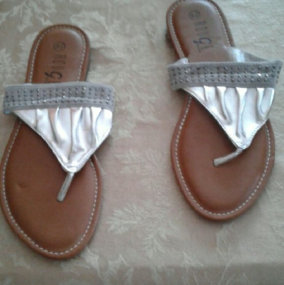 Sandals Beautiful  sliver  sandals  with white sets  on them new never worn Shoes Sandals