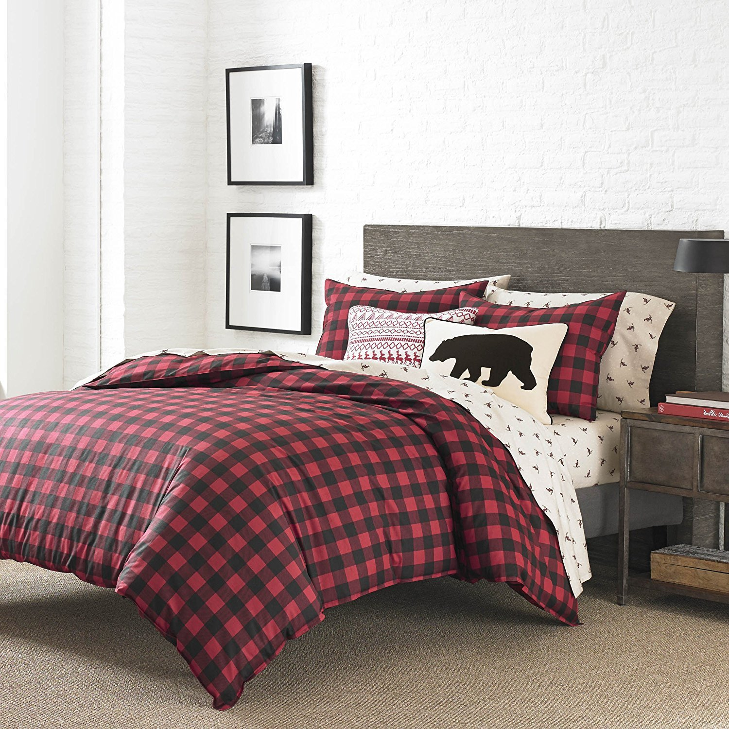 com cover toile sets black and red walls bed white with plaid comforter twin pictures amazon duvet bedding exceptional tan picture country