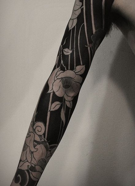 Negative Space Tattoo Space Tattoo Sleeve Black Line Tattoo Sleeve Tattoos