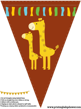 the printable giraffe baby shower banners. Get it all here for free: http://printmybabyshower.com/giraffe-baby-shower-decorations-games-invitations/