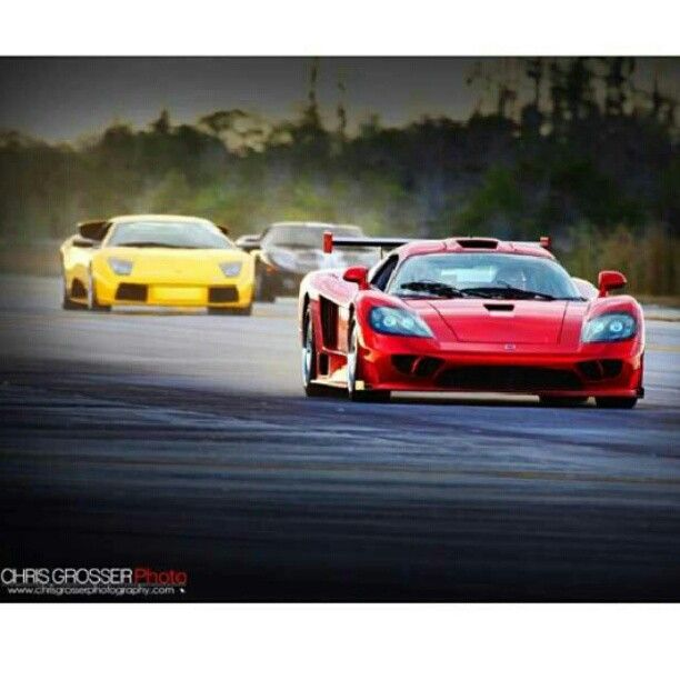 Rapid Red Saleen is demolishing what looks to be a Lambo and a Ford GT. Or has it had a head start!