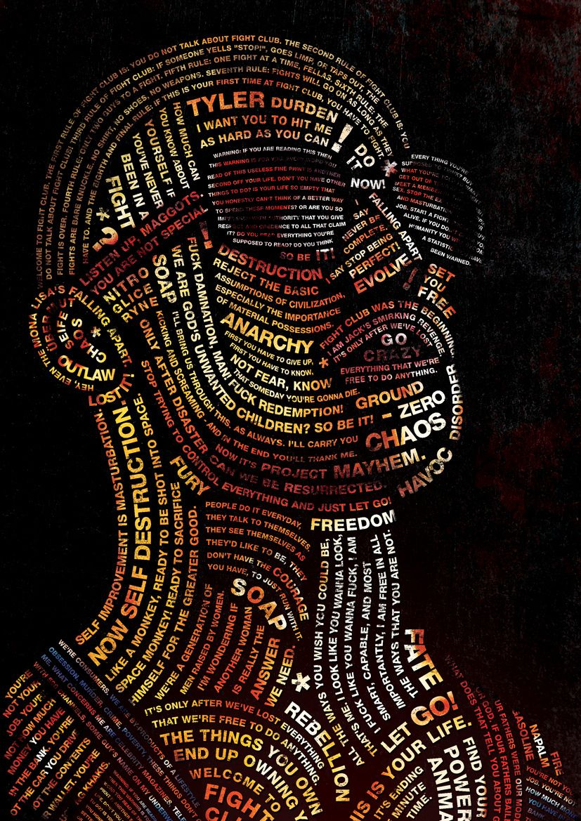 Typography Portrait of Tyler Durden from Fight Club