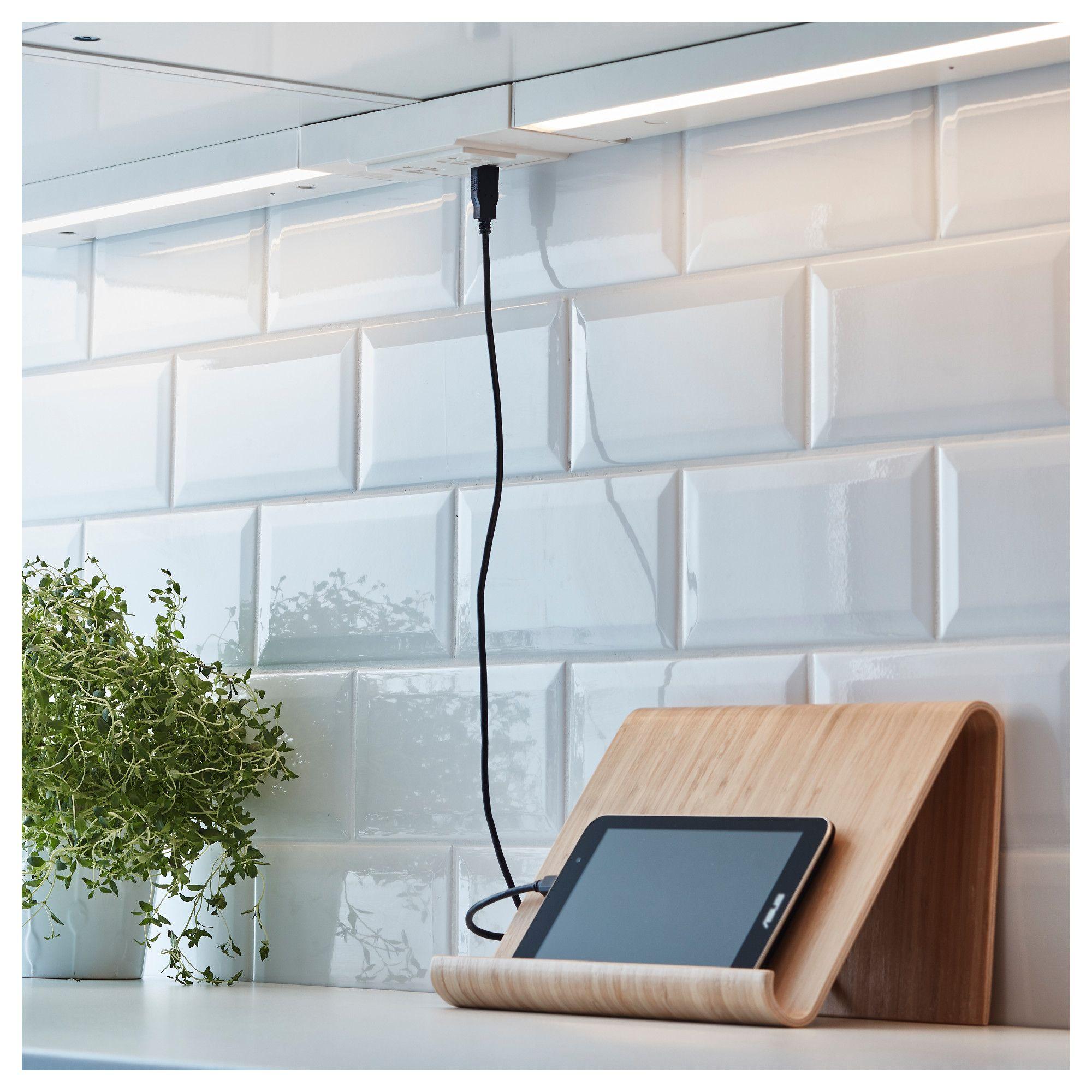 Under Cabinet Plug Strips Kitchen: UTRUSTA 2 Outlet Power Strip With USB Port White