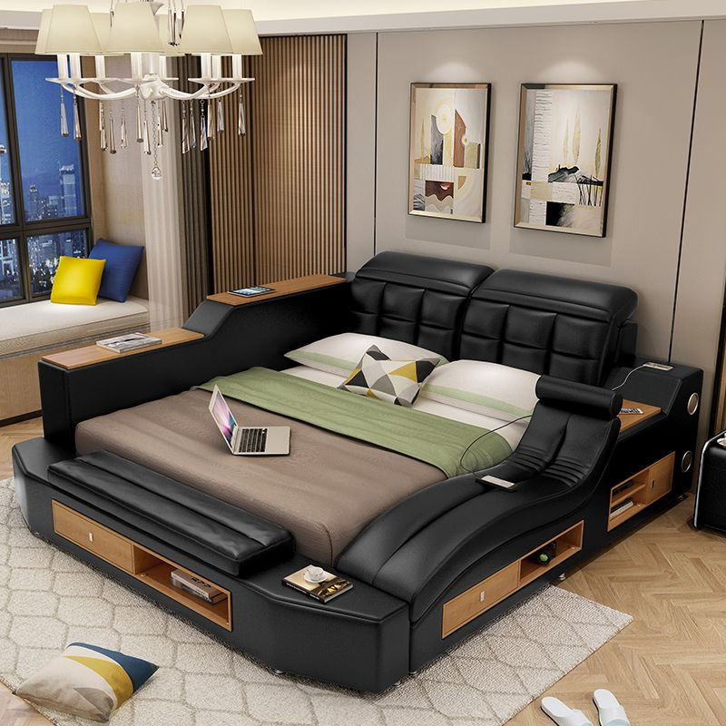 Best Intelligent Massage Tatami Leather Bed Genuine Leather Bed 400 x 300