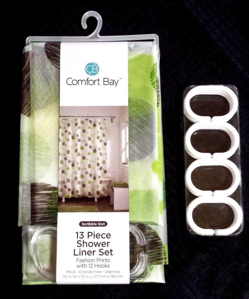 Comfort Bay Shower Curtain Liner Set Scribble Dot Pattern