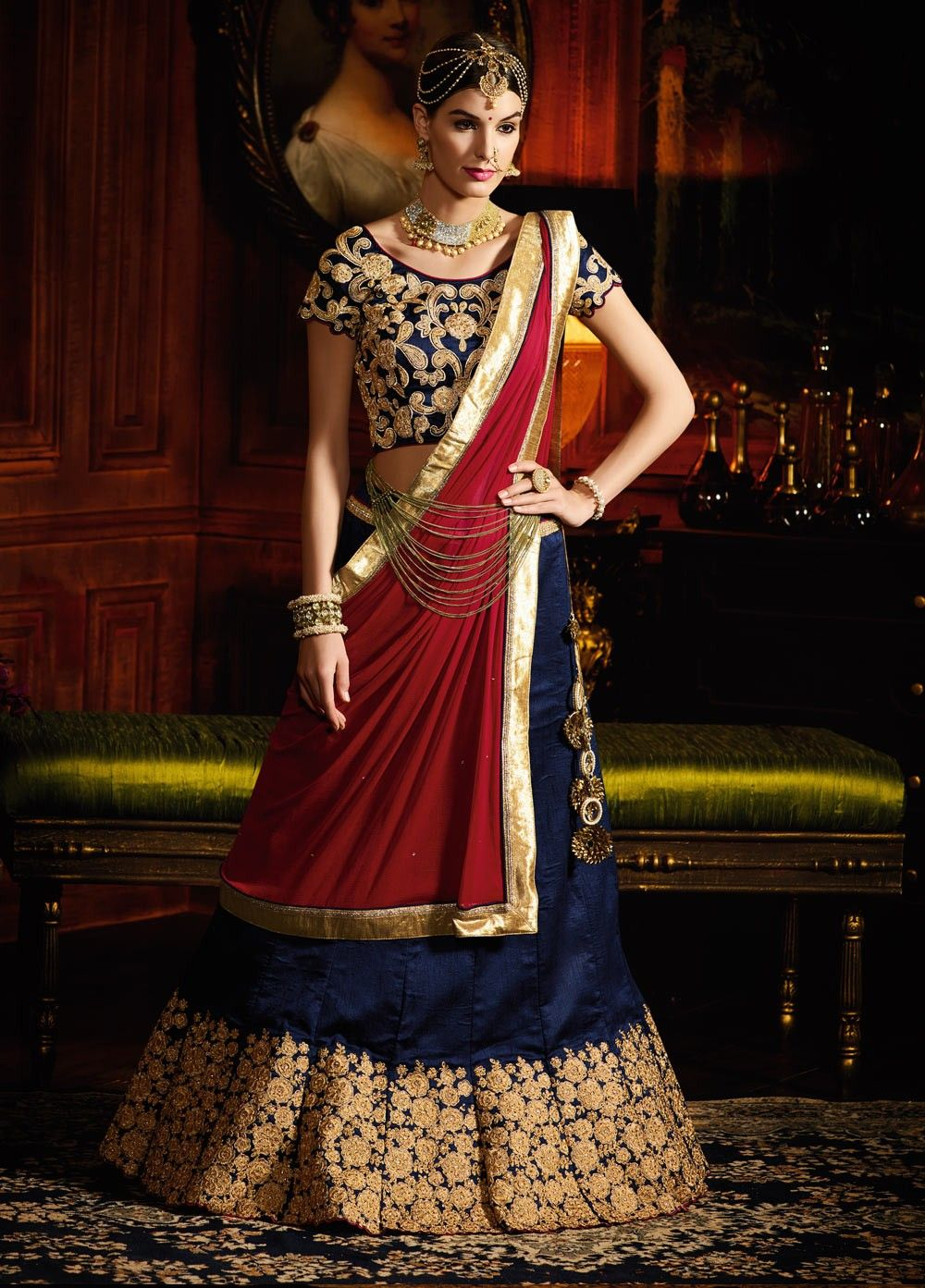 Navy Blue And Maroon Color Silk Wedding Lehenga Choli At Kollybollyethnics Online From India Get Free Shipping Offer