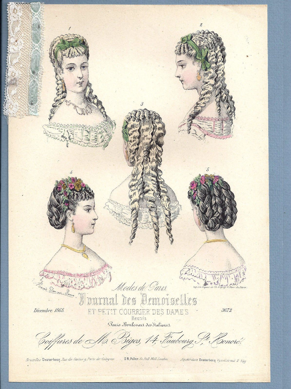Details about 1868 old print victorian fashion hairdo coiffure 1868 old print victorian fashion hairdo coiffure braid hair style w real lace ebay ccuart Image collections