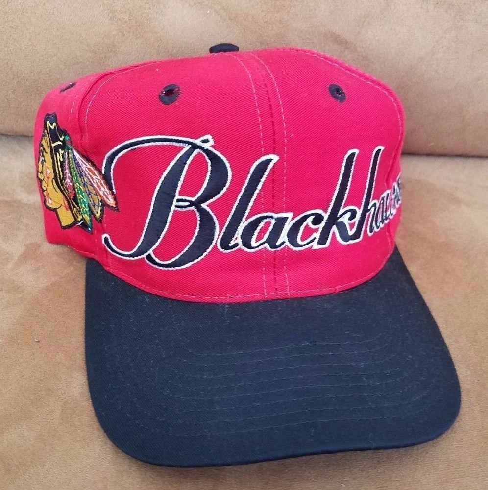 55596bf5a083 Chicago Blackhawks Hat Script Logo The GAME Snapback cap NHL hockey VINTAGE   TheGame  ChicagoBlackhawks
