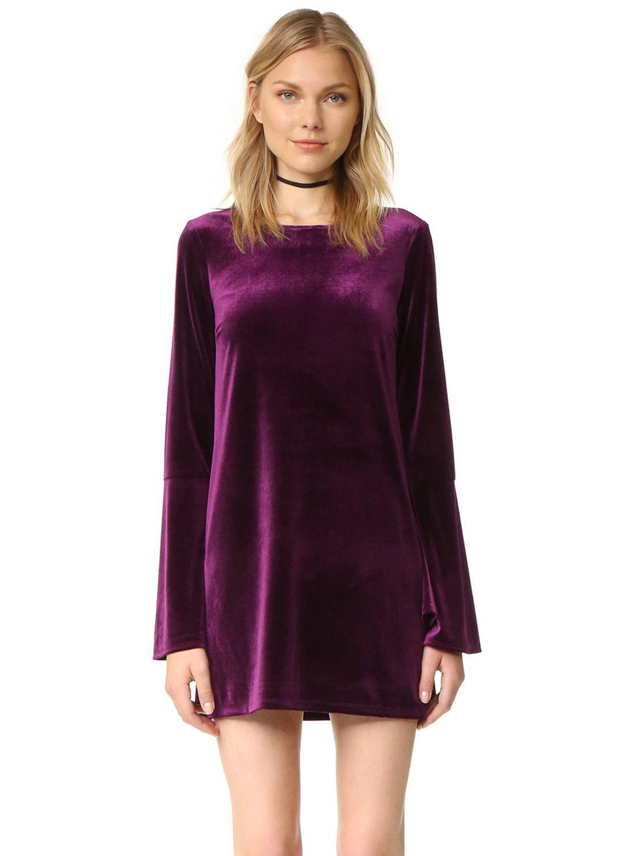 Cheap Purple Long Sleeve Mini Dress