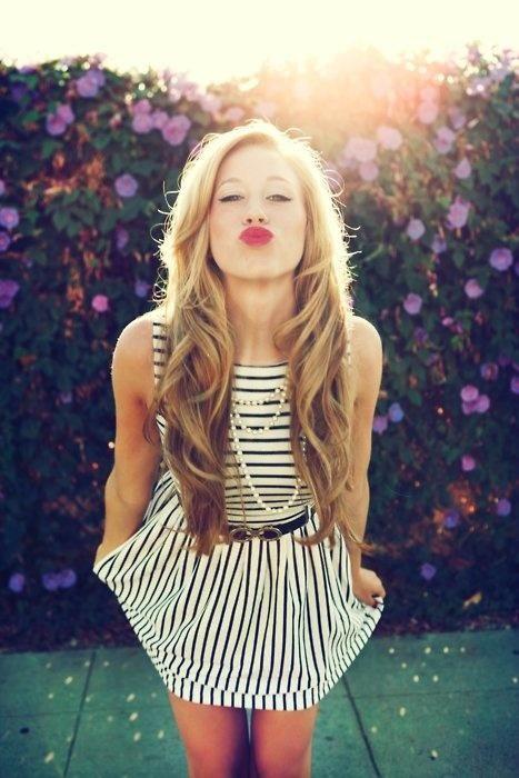 red lips, striped dress