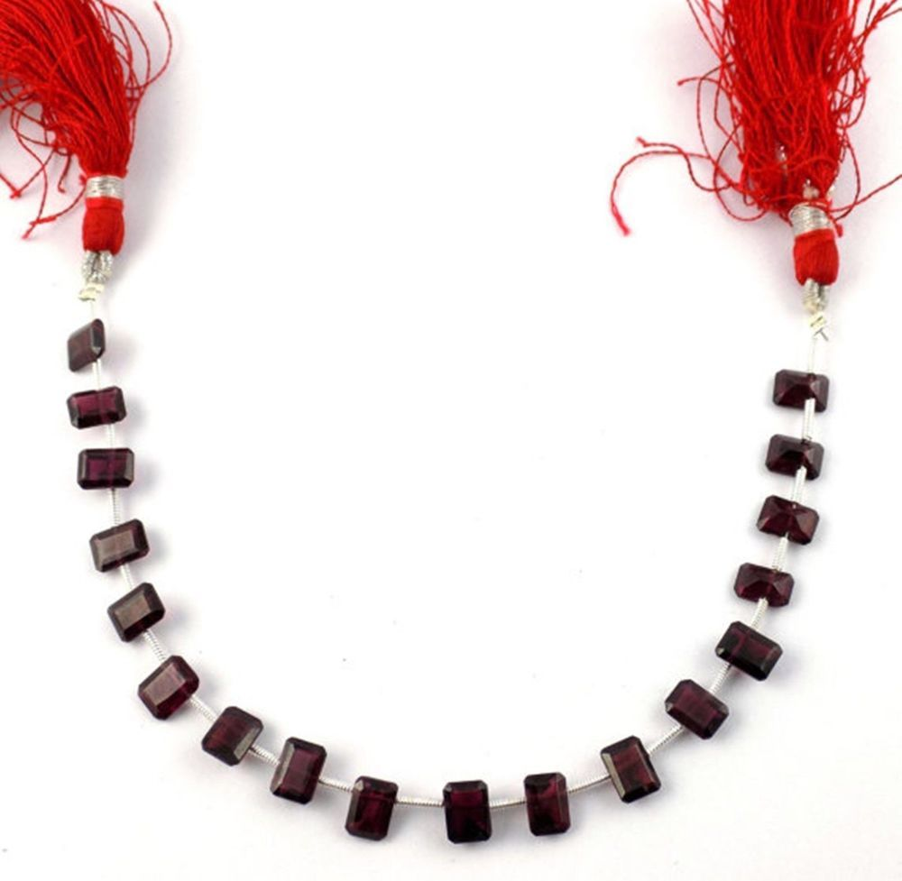 """1 Strand Natural Mozambique Garnet Gemstone Faceted 5x7mm Rectangle Beads 7""""Long"""
