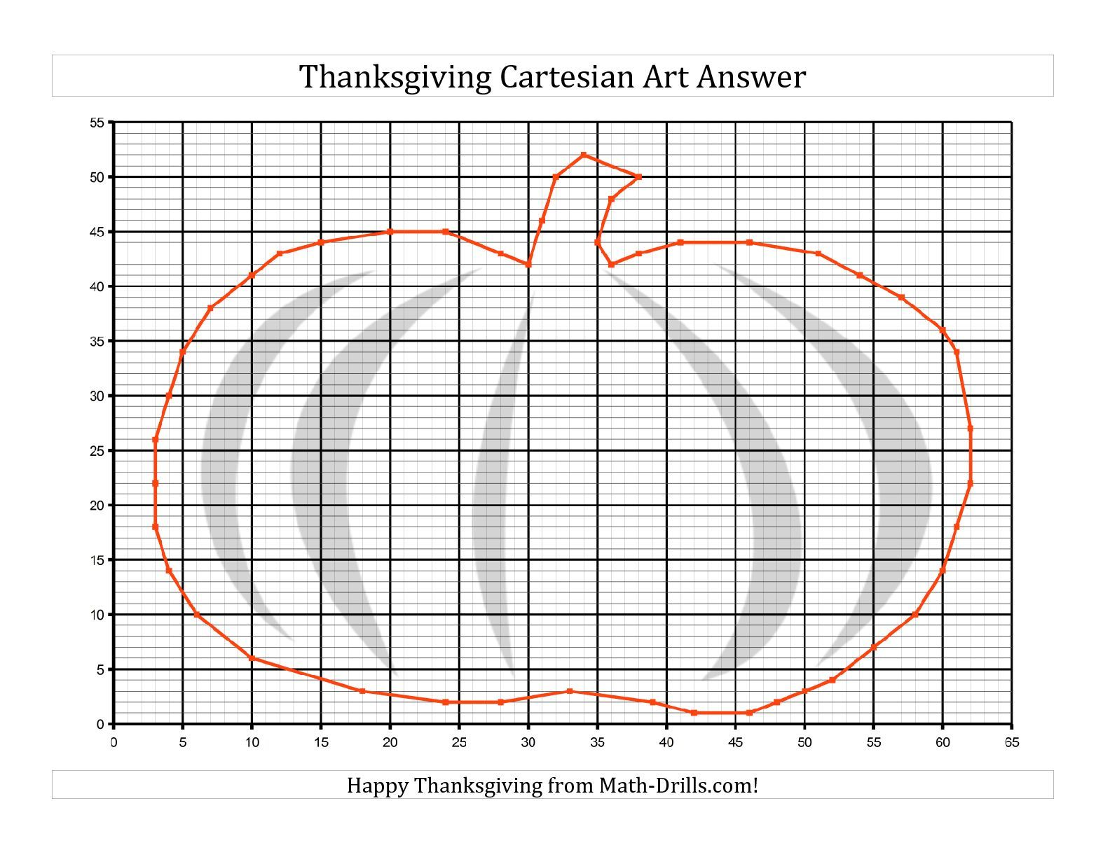 Cartesian Art Thanksgiving Pumpkin (B) Math Worksheet #freemath
