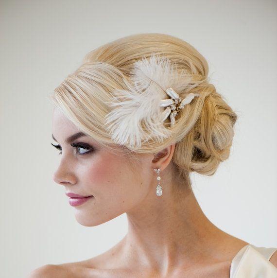 Bridal Fascinator, Wedding Hair Accessory, Ivory Feather ...