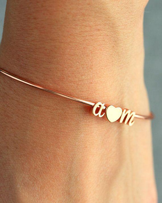cursive initial heart bangle bracelet script lovers initials gold silver rose gold bridal. Black Bedroom Furniture Sets. Home Design Ideas