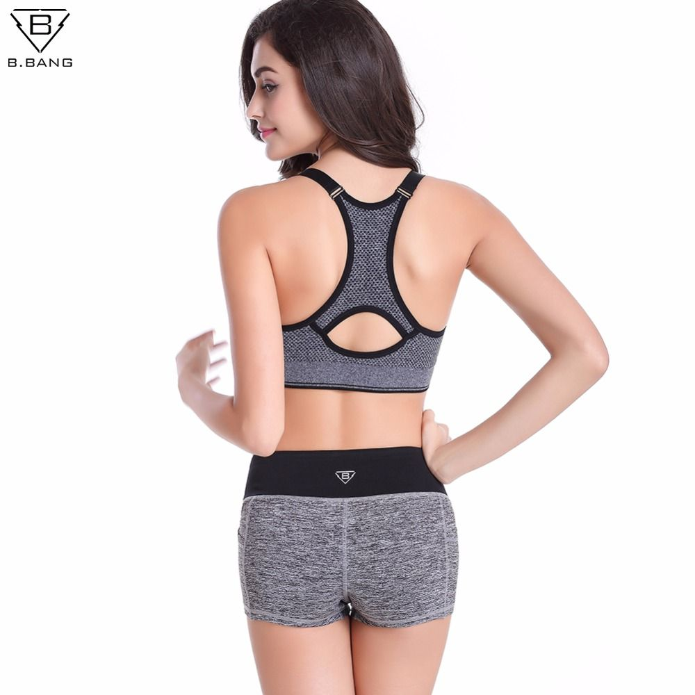 9e1d28d99c B.BANG mujeres Yoga establece Running Sports Bra + Shorts Set Fitness Gym  Push Up Bras Seamless Tops elásticos pantalones cortos para mujeres