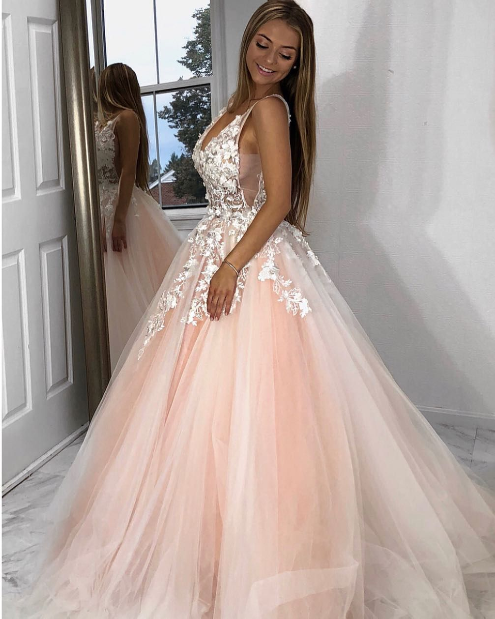 Blush pink ball gown prom dress with ivory lace applique. Prom Dresses 2019 9b3badb3dc77