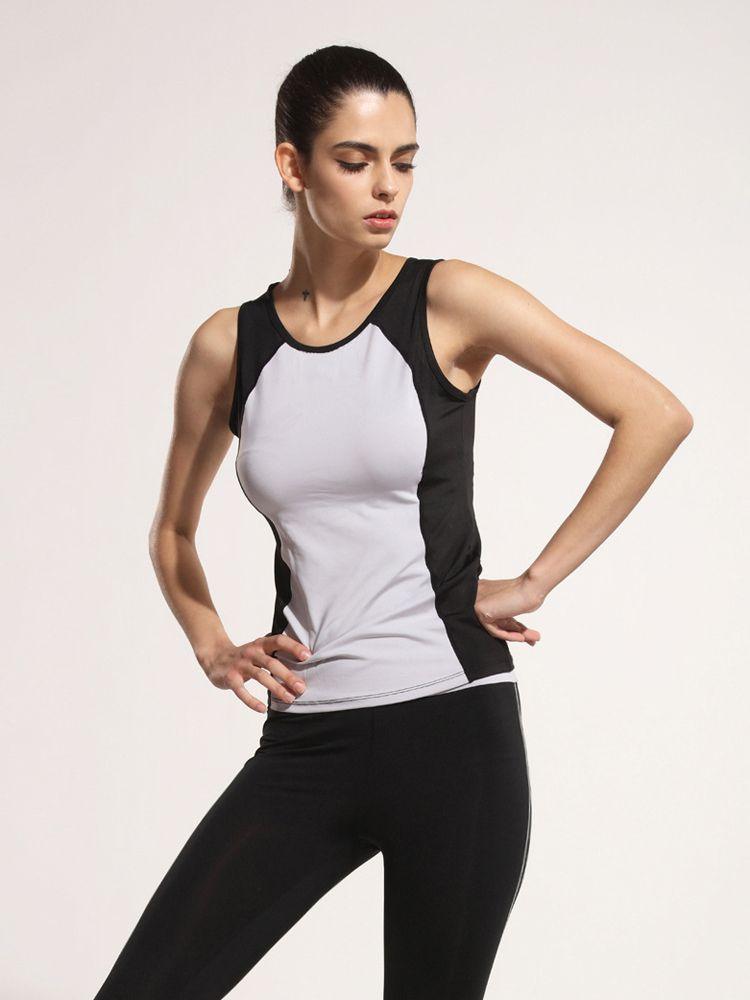 de52de68cf6 Women Elastic Sleeveless Patchwork High Waist Fitness Running ...