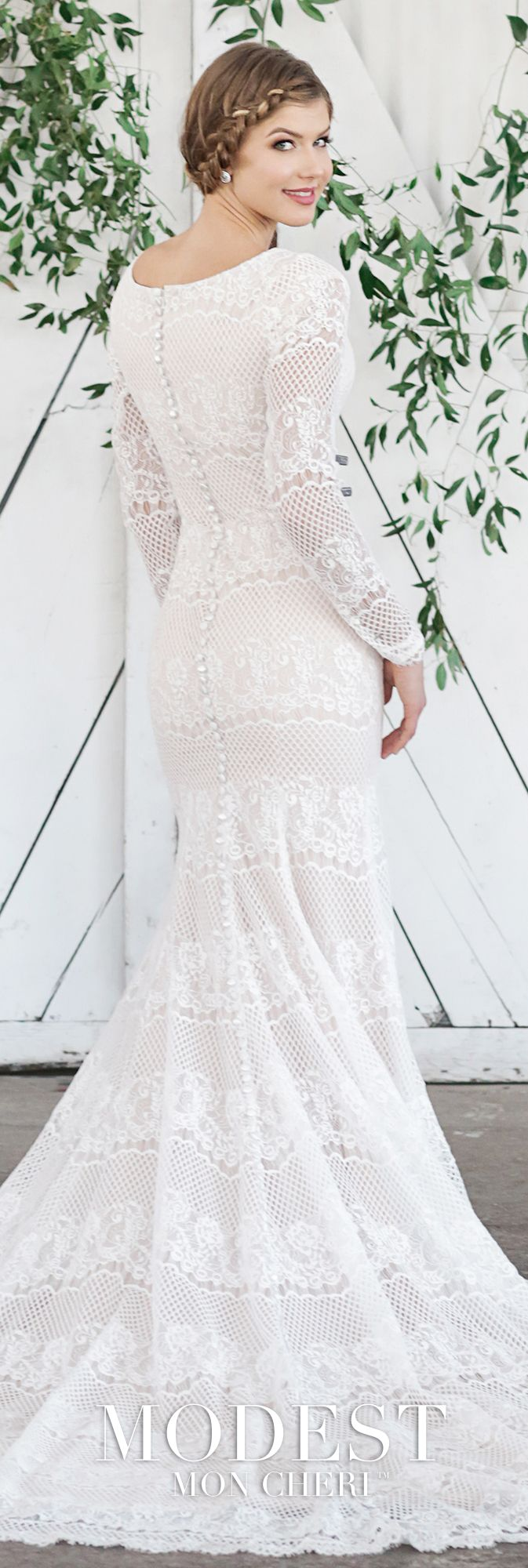 Lace fit and flare wedding dress with sleeves  Modest All Lace Fit u Flare Wedding Gown with Lace Illusion Long