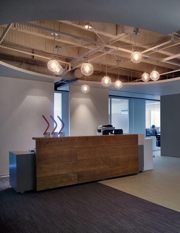 Eureka Lighting Gallery Pendant Exposed Ceiling Raw Wood Custom Reception Desk Custom Reception Desk