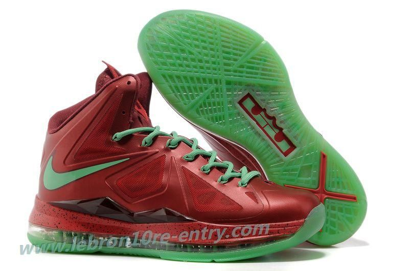 new style f9bbb 2bffd Nike Lebron X (10) Christmas Red Green Style 541100 600 Retro