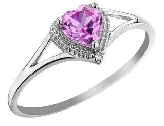 Created Pink Sapphire Heart Ring with Diamond 2/3 Carat (ctw) in 10K White Gold
