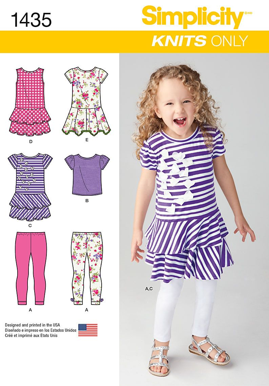 Simplicity 1435 Child\'s Knit Dresses, Top and Capri Leggings ...