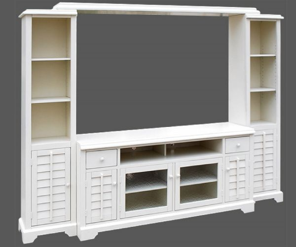 Vintage White Wood Entertainment Wall Unit