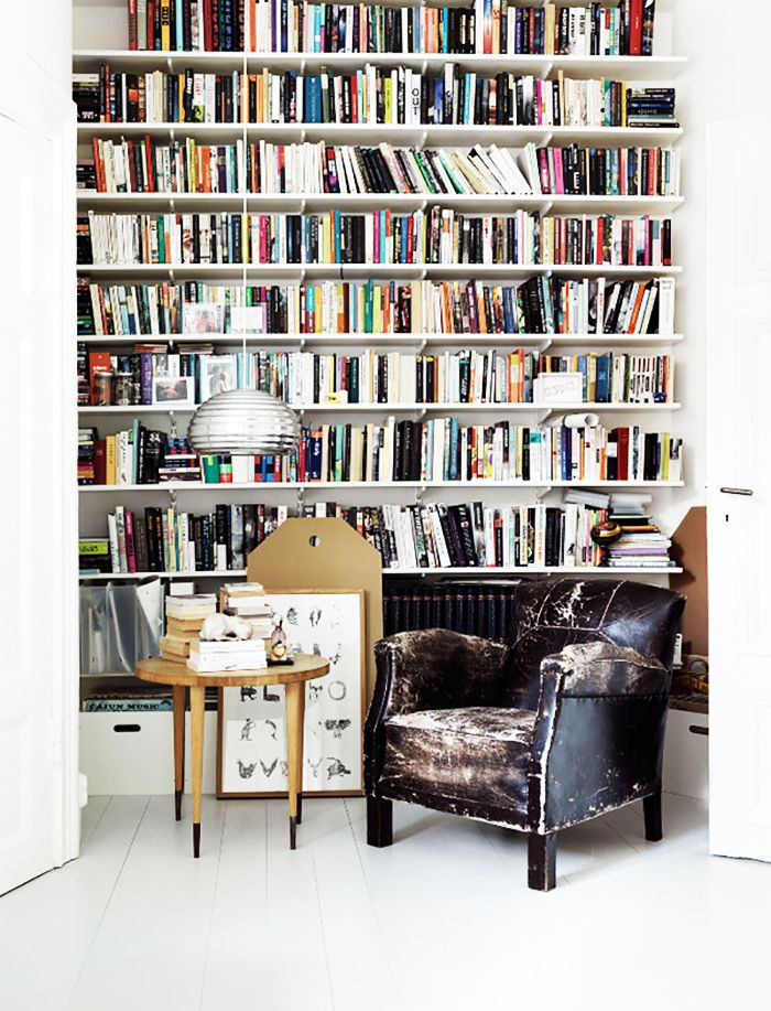 Superb Small Library/reading Nook With Leather Chair, Wood Sidetable And Wall Of  Books Awesome Ideas