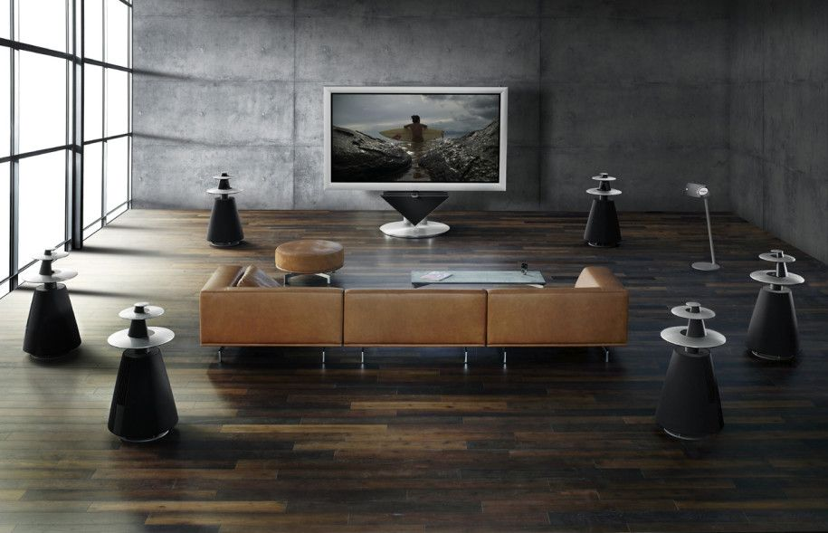 big screen tv home theatre room   ... Technology : Big Screen Tv With Speakers Around Brown Sofa