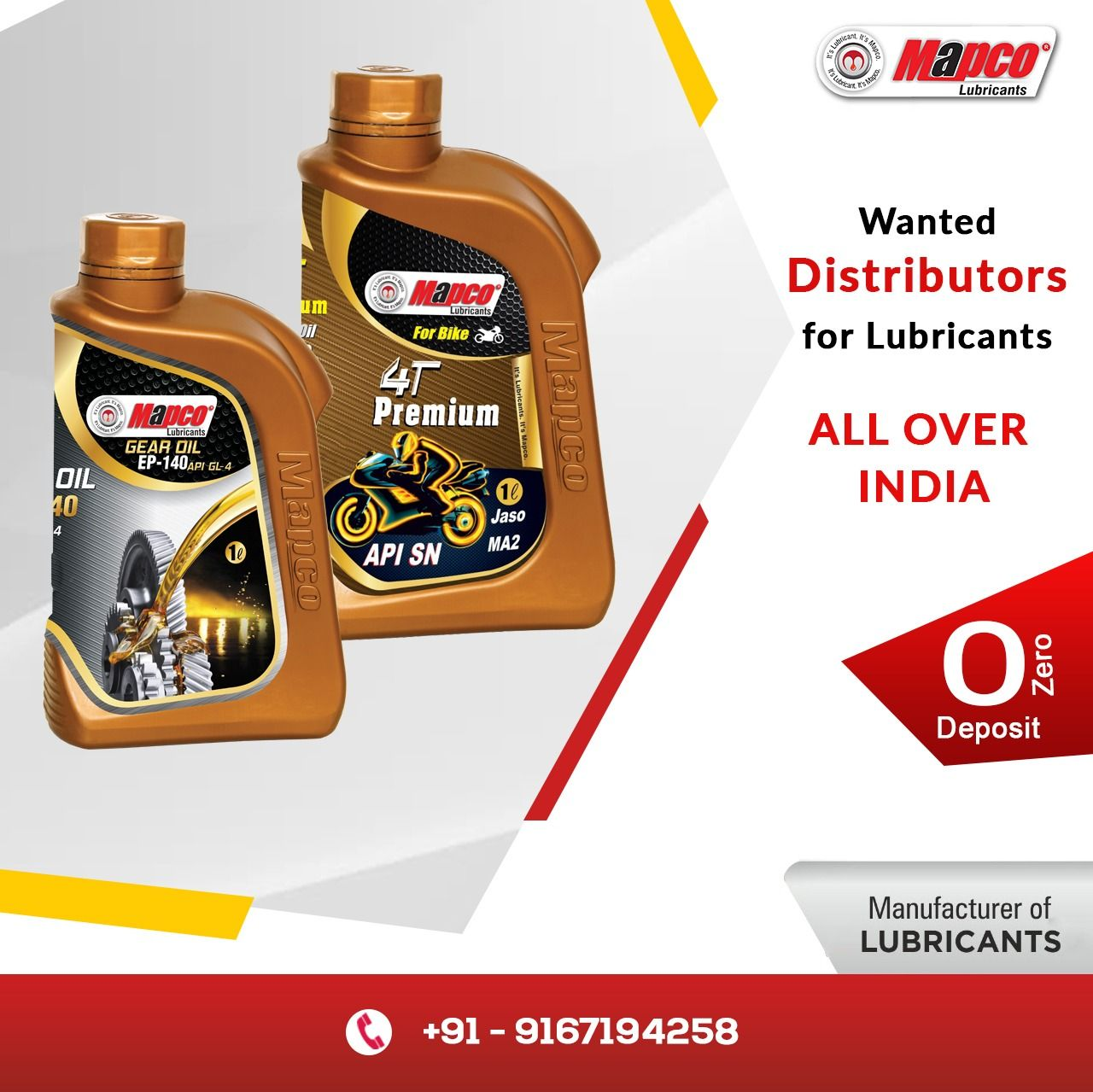 Mapco Lubricants Free Distributorship Available All Over In India