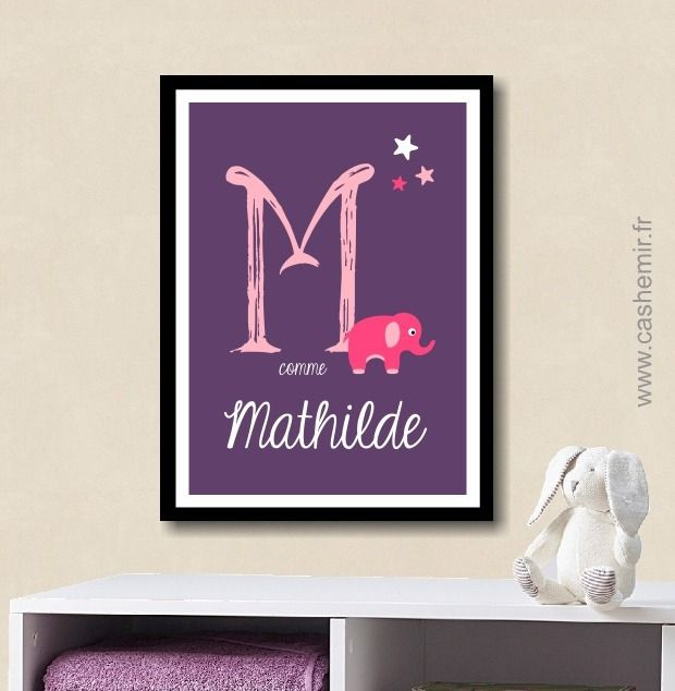 affiche lettre pr nom b b enfant personnalis e plaque de porte chambre fille cadeau de. Black Bedroom Furniture Sets. Home Design Ideas