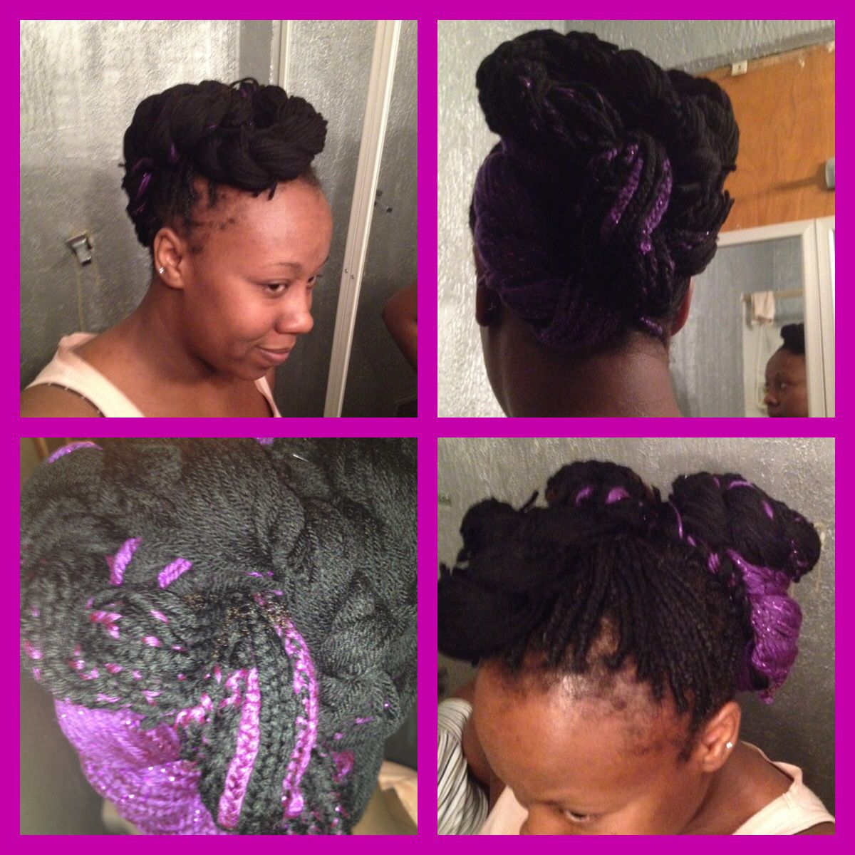 Yarn braids up-do.
