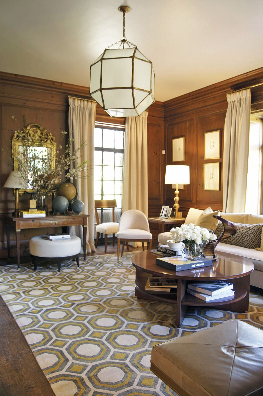 Painted Paneling Living Room: Suzanne Kasler Created A Warm And Inviting Den For The