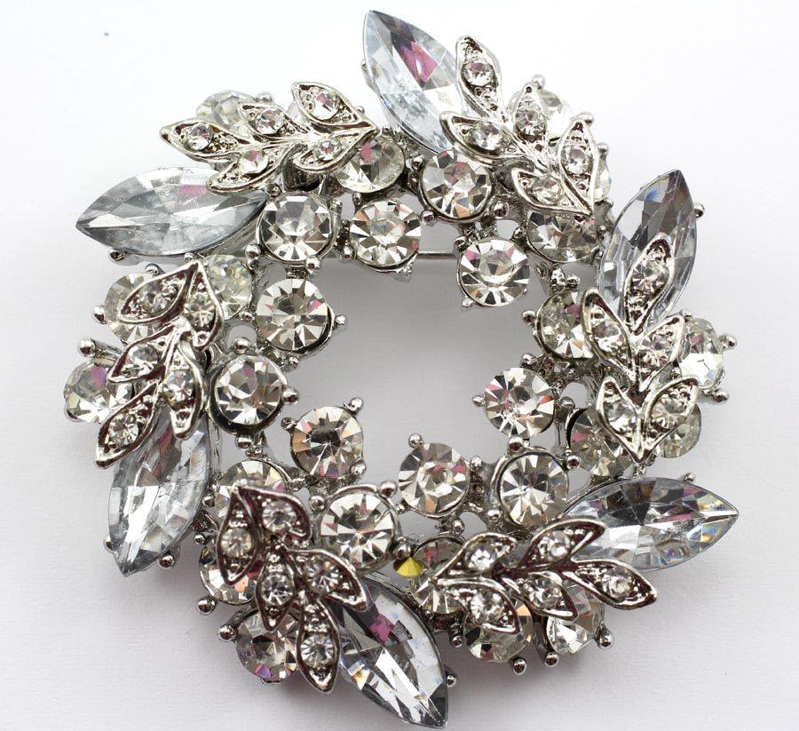 Clear Fine Austrian Rhinestone Crystal Fancy Wreath Bridal Wedding Brooch Pin