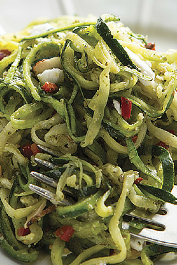 """Zucchini """"Pasta"""" with Mint Pesto: A healthy alternative to pasta, this zucchini pasta with mint pesto gives you all the flavor with fewer calories and none of the gluten or grain!"""