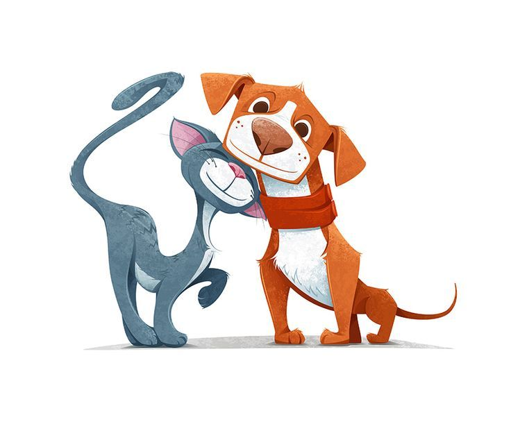 Прикольные картинки с собаками и кошками нарисованные, картинки вектор